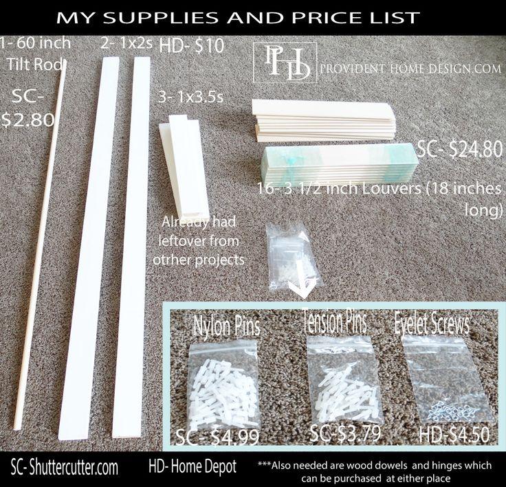 Plantations Shutter Supplies and Prices, shuttercutter.com