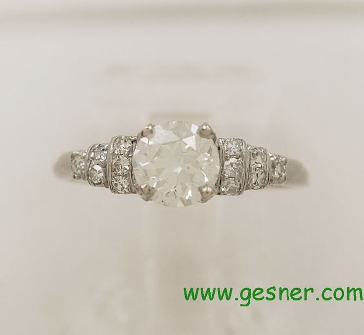 0.96ct. Diamond & Platinum Art Deco Engagement Ring- J33712 - pinned by pin4etsy.com