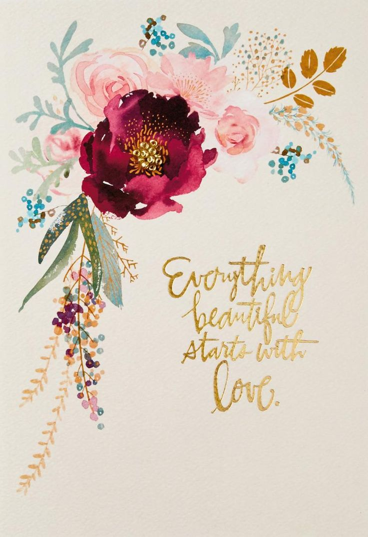 Loving thoughts make a beautiful day for your wife or for mom in this regal card. Antique floral design on a beige background with sweet words of love.