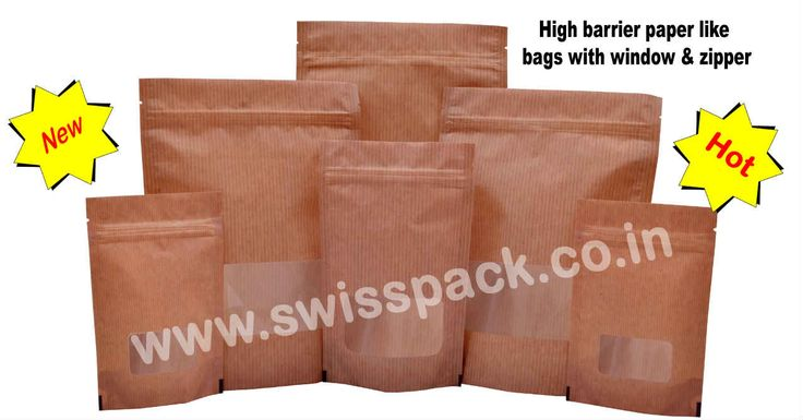 High barrier paper like bags with window and zipper, http://www.swisspack.co.in/paper-bags/