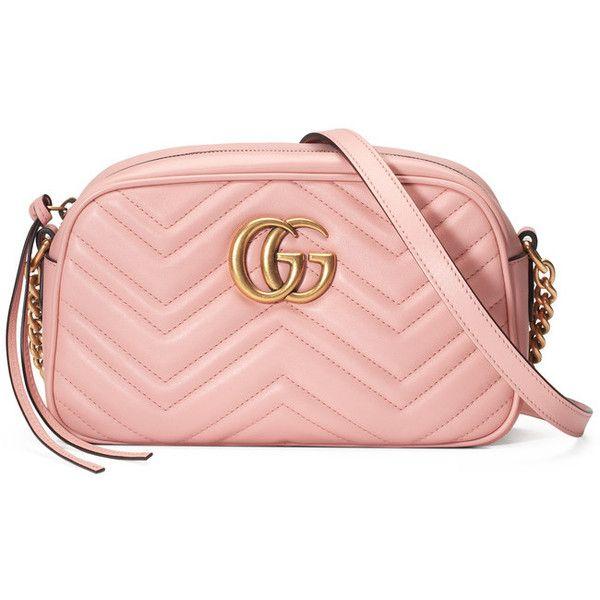 GG Marmot Matelassé Shoulder Bag ($1,200) ❤ liked on Polyvore featuring bags, handbags, shoulder bags, chevron purse, pink handbags, chain shoulder bag, pink purse and leather shoulder bag