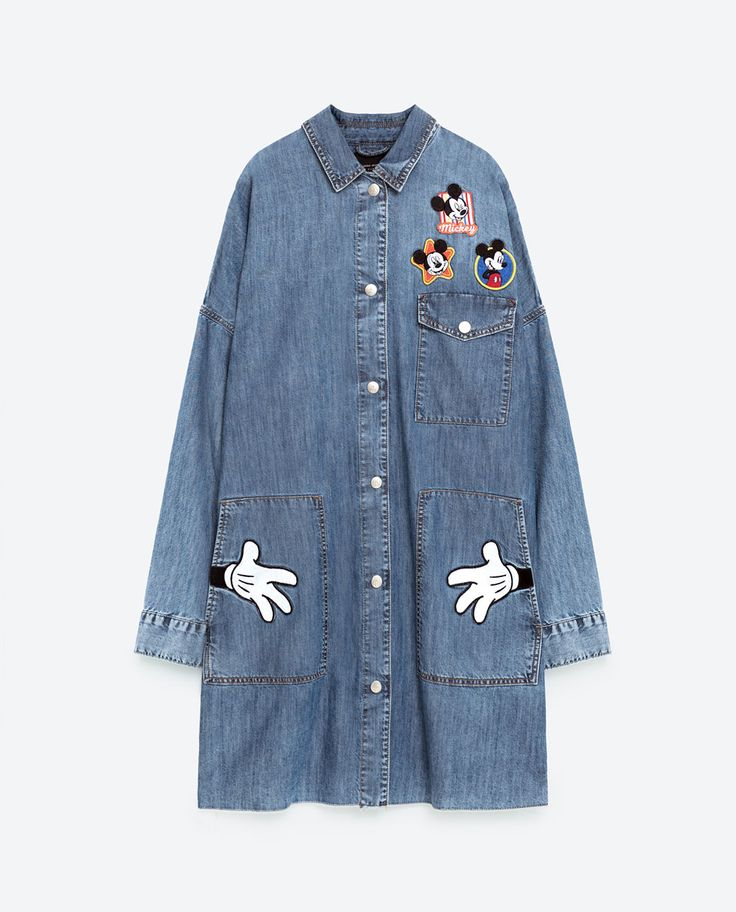 Mickey Mouse PRINTED DENIM TRENCH COAT from Zara