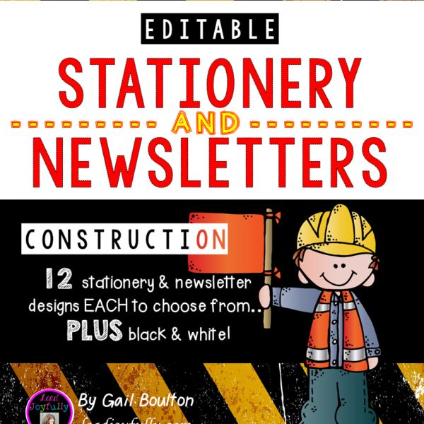 """Memos or newsletters can be an effective tool in communicating, managing, leading, and building morale! This 51-page EDITABLE file includes 12 different """"construction"""" designs in stationery or newsletter format. This download will last you a long time. Just edit, print, and send!"""