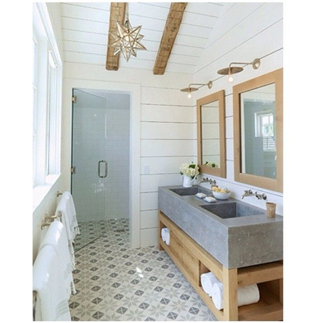 We are starting to work on our master bathroom...because it looks nothing like this.  I found this image on The Style Files blog (she doesn't have an insta account) and I am In LOVE with the cement tile floor, concrete sink, and overall beauty of this bathroom.  Yes?! Has anyone else used cement tiles on the floor? Good experience? #bathroom #inspiration #Padgram
