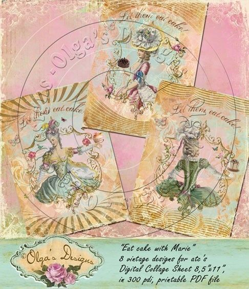 EAT CAKE WITH MARIE, 8 Designs for ATC's, Digital Collage Sheet, in 300 pdi, printable PDF file