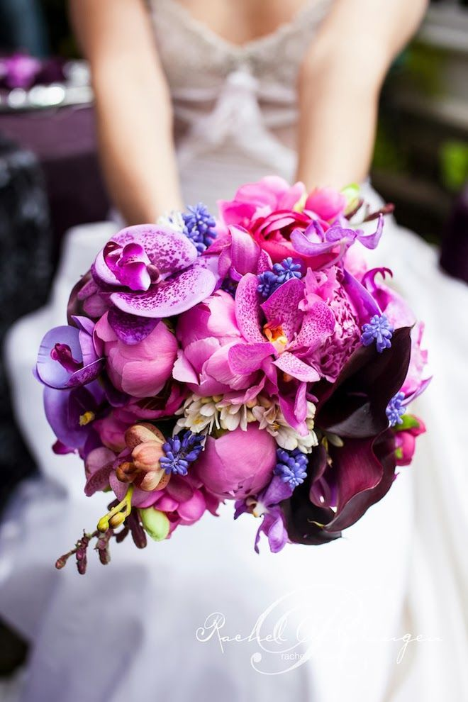 Wedding Inspiration for Pantone's 2014 Color of the Year: Radiant Orchid on Borrowed & Blue.  Photo Credit: Rowell Photography
