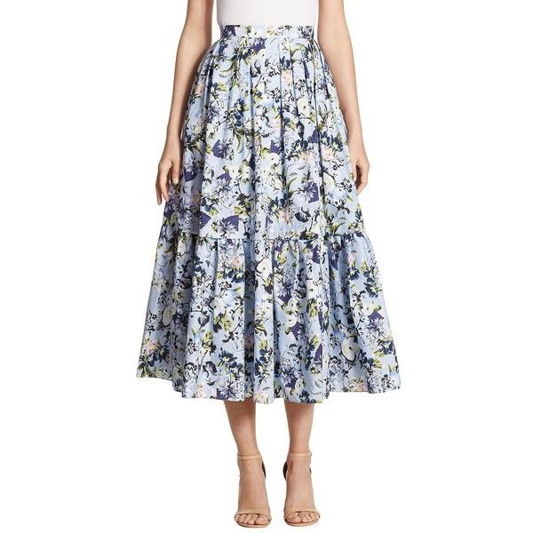 Erdem Leigh Floral-Print Skirt (134.710 HUF) ❤ liked on Polyvore featuring skirts, cotton skirts, long pleated maxi skirt, floral skirt, long maxi skirts and pleated maxi skirts