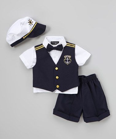 Another great find on #zulily! Navy & White Sailor Vest Set - Infant, Toddler & Boys #zulilyfinds