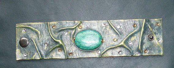 Bracelet Cuir Véritable Pierre Greenstone