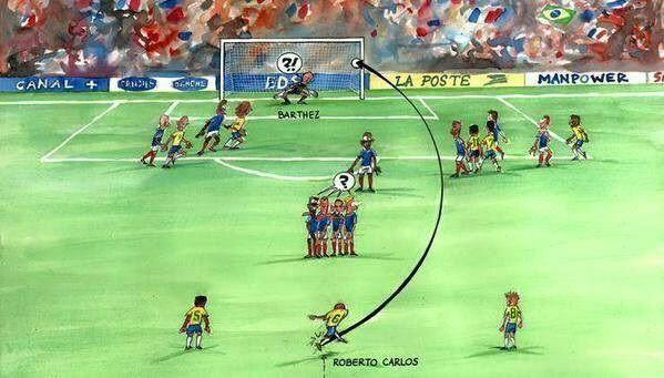 Najpiękniejszy gol z rzutu wolnego w niecodziennej wersji • Rzut wolny Roberto Carlosa w wersji rysunkowej • Wejdź i zobacz zdjęcie >> #carlos #goals #football #soccer #sports #pilkanozna