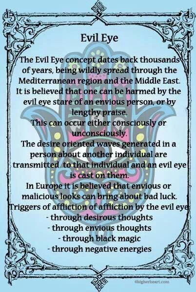 To counteract evil eye, wear evil eye jewelry, black tourmaline, onyx, tiger eye