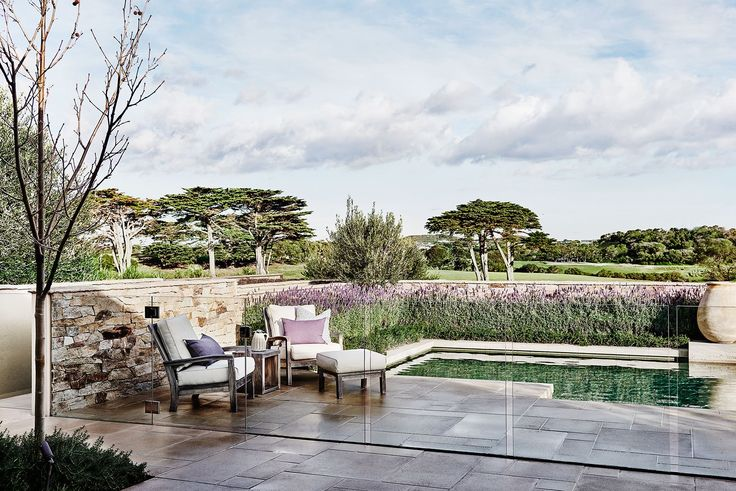 Pool from Hamptons-style holiday home on Victoria's Mornington Peninsula. Photography: Lisa Cohen | Styling: Adelaide Bragg