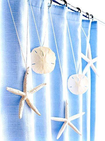 Star Shower For an ocean-fresh splash in the tub, string denizens of the sea along your shower curtain. Nab shells from a beach vacation or purchase some from a crafts store. Drill a small hole in the starfish (no need to drill holes in the sand dollars -- they have one), string them on cotton cording, and loop the cording through shower rings.