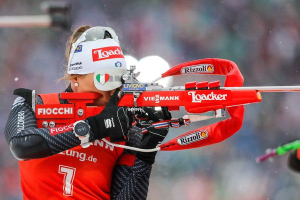 Dorothea Wierer of Italy takes 3rd place during the IBU Biathlon World Cup Men's and Women's Mass Start on December 18, 2016 in Nove Mesto na Morave, Czech Republic.