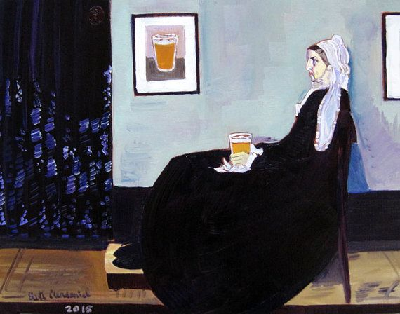 Beer Painting, Parody of Whistler's Mother with Beer, Gift for Mom, Gift for Husband, Anniversary Gift, Gift for Home Brewer, Beer Poster