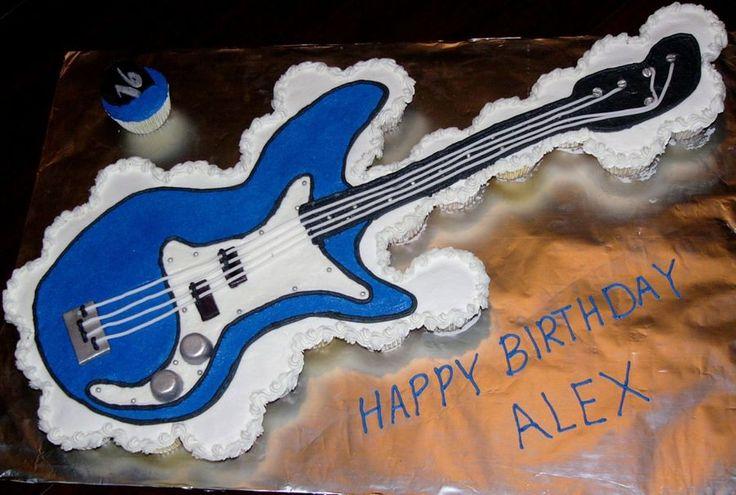Guitar Cupcake Cake  on Cake Central
