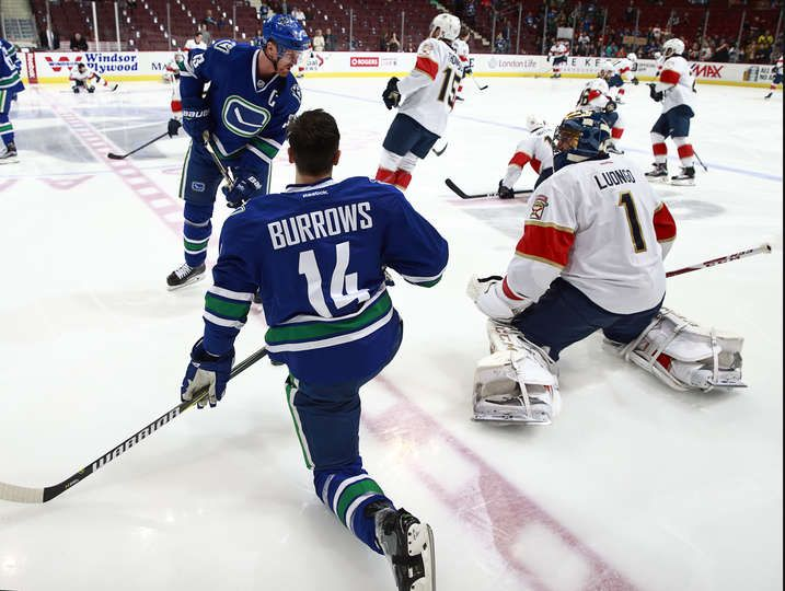 VANCOUVER, BC - JANUARY 20: Henrik Sedin #33 and Alexandre Burrows #14 of the Vancouver Canucks talk with Roberto Luongo #1 of the Florida Panthers while warming up for their NHL game at Rogers Arena January 20, 2017 in Vancouver, British Columbia, Canada. (Photo by Jeff Vinnick/NHLI via Getty Images)