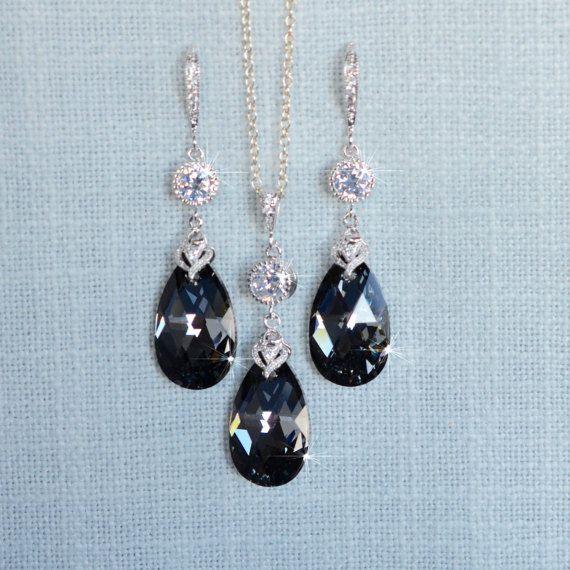 Handmade Swarovski Silver Night Crystal by PrettybySusanJewelry