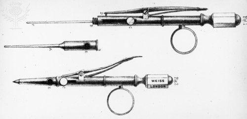 La primera aguja hipodérmica y su jeringa, inventada por el médico irlandés Francis Rynd (1845)