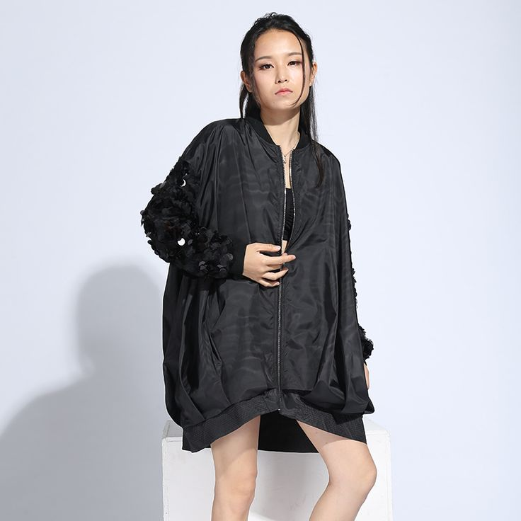 [Xitao] 2017 Весенняя Новинка уличная Европа Модные женские туфли сплошной цвет блестками с длинными рукавами свободные молнии тонкий Тренч LLB-127