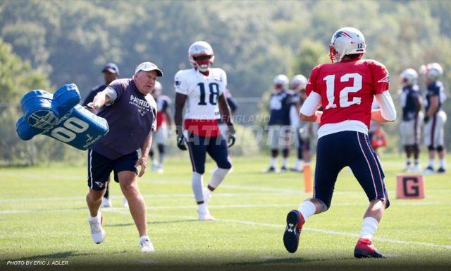 Bill Belichick Throwing Pads At Tom Brady.