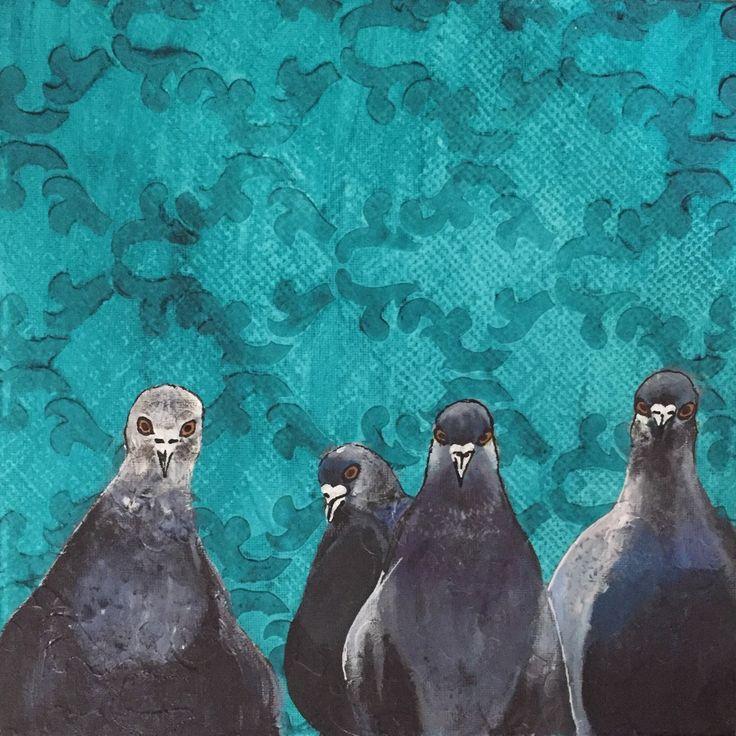 Nouveauté!!! Les pigeons en voyage. Petite toile 10x10. Pour qui?