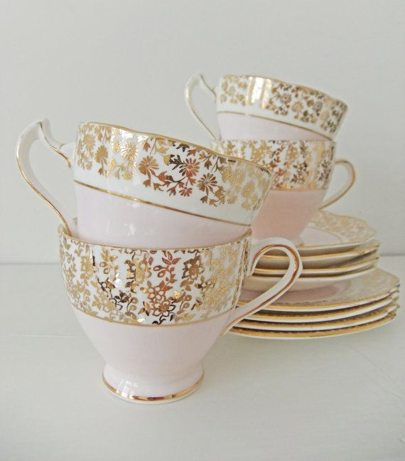 Vintage China Tea Set in Pastel Pink - Royal Crown, Trentham Bone China