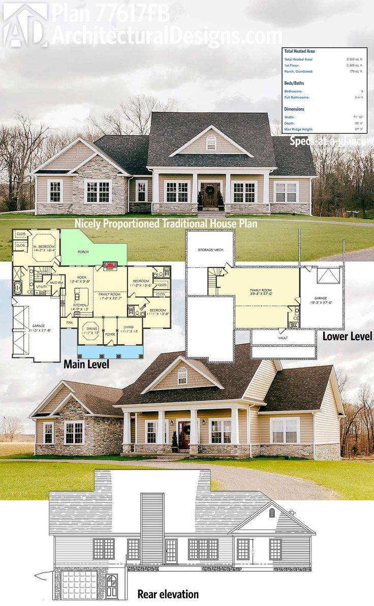 Architectural designs 3 bed traditional house plan has classic good looks a side load