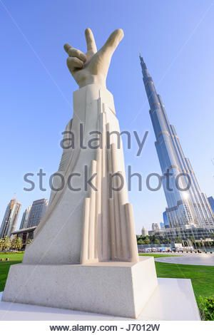 The three-finger salute was introduced by His Highness Sheikh Mohammed bin Rashid Al Maktoum in February 2013 during - Stock Photo