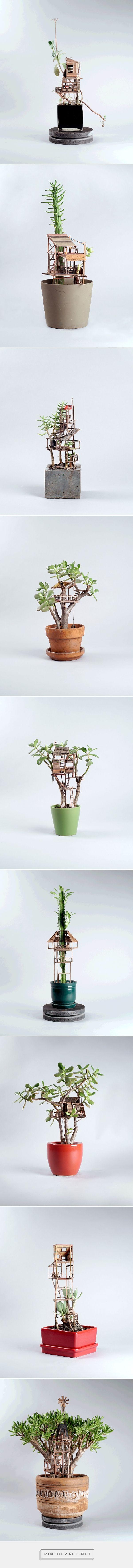 Miniature Treehouse Sculptures Built Around Houseplants by Jedediah Voltz