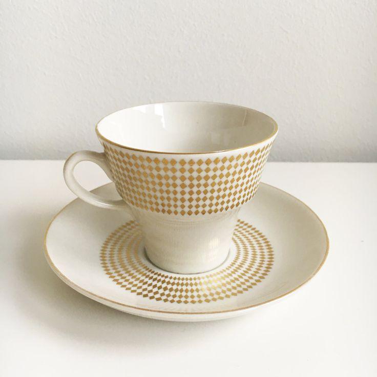 "Raija Uosikkinen, vintage Arabia Finland ""Rio"" coffee cup and saucer by FinnishVintageOasis on Etsy"