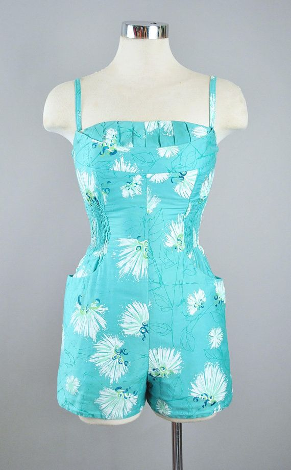 3132e491b4 Vintage 50s ALFRED SHAHEEN Playsuit 2pc Cover Up Set   1950s ...