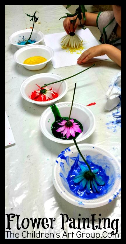 We painted using flowers for the first time this year-lots of fun. Their paintings were very unique!