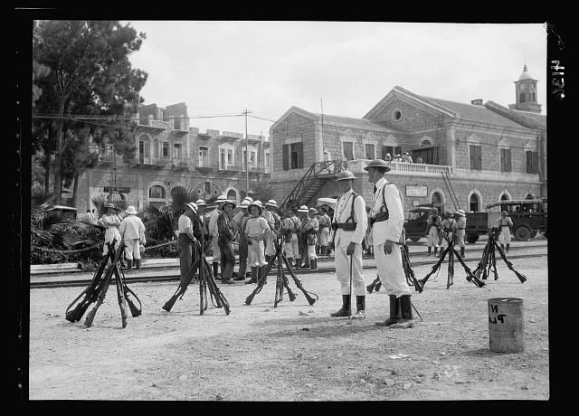 Palestine events. The 1929 riots, August 23 to 31. British marines in the Haifa Station yard