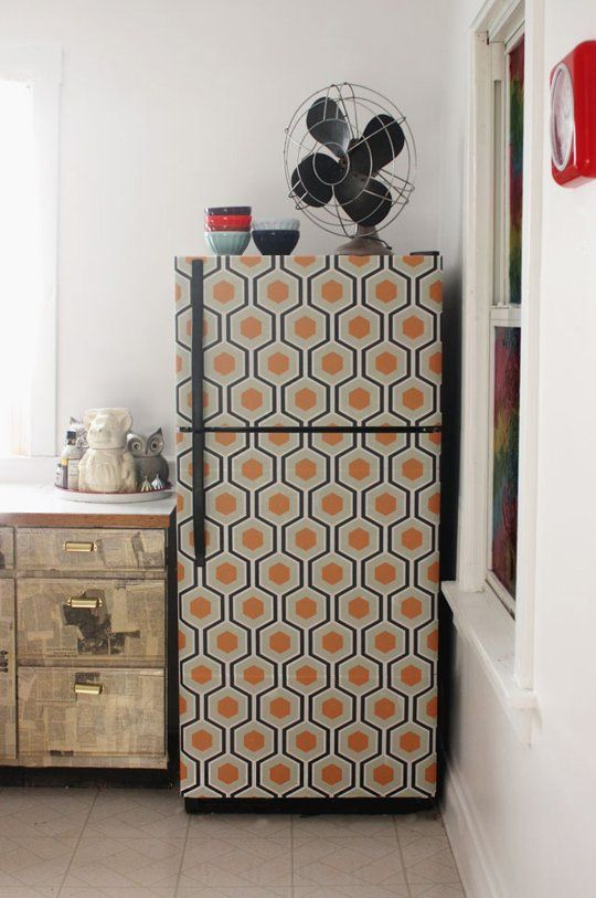 Wallpapered fridge (actually peel and stick)  Peaches used Chasing Paper, but you can get the same look with paper from Hygge & West, Tempaper, Wall Candy Arts, Murals Your Way, or anywhere on Etsy. You can even make your own removable wallpaper with online site Spoonflower.