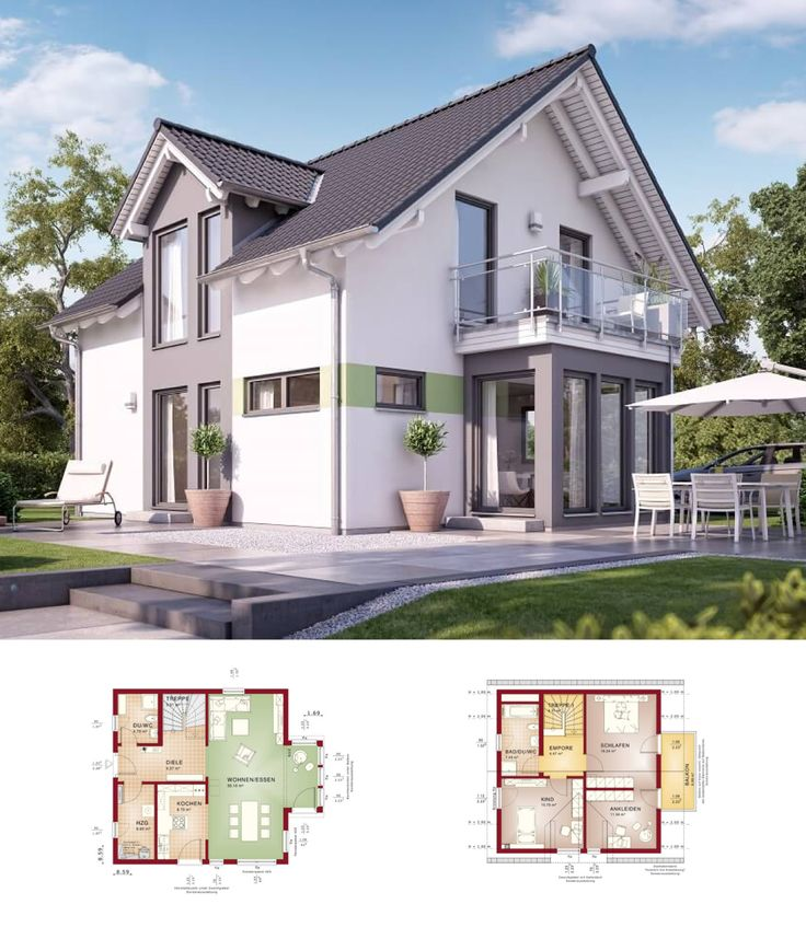 EINFAMILIENHAUS * Haus Solution 125 V4 Living Haus   Modernes Fertighaus  Grundriss 5 Zimmer Satteldach Fassade