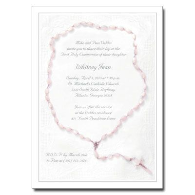 Designed with classic symbolism, this First Holy Communion invitation featuring a beautiful pink rosary will help add a refined and sophisticated look to your childs and familys milestone celebration. Card measures 5in x 7in.hr color=#CCCCCC /div class=clearfix personalizea href=Step1New.asp?Type=Communion+Invitations=381==Holy+Rosary+Invitation target=_selfclass=personalizeItemSelect /a/div