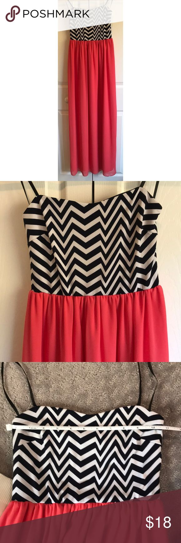 Strapless Chevron Coral Maxi Dress Super cute and bright colors. No size tag but looks like an XS/S Navy and white chevron. Dresses Maxi