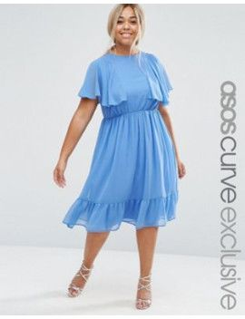 asos-curve-flutter-sleeve-ruffle-midi-tea-dress by asos-curve #dress #fashion #trends #onlineshopping #shoptagr