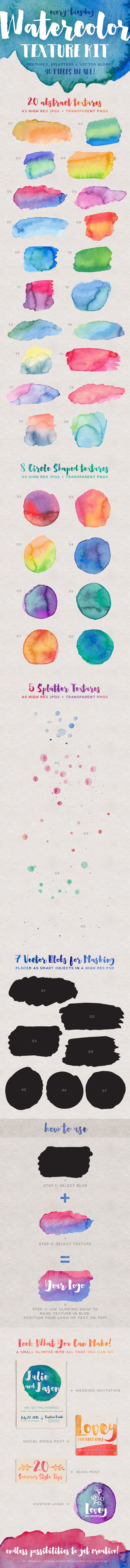 Get creative with the full 40 piece Watercolor Texture Kit! This kit is packed with 20 unique abstract watercolor textures, 8 circle-shaped textures perfect for logos, 5 splatter textures and 7 blobs perfect for cropping into your favorite textures and keeping brushed edges. All 40 pieces come as high res, 300dpi RGB jpgs and transparent pngs - so you get the vibrancy of RGB and retain the high standard print resolution if you'd like to convert to CMYK for prints. And - with the included…