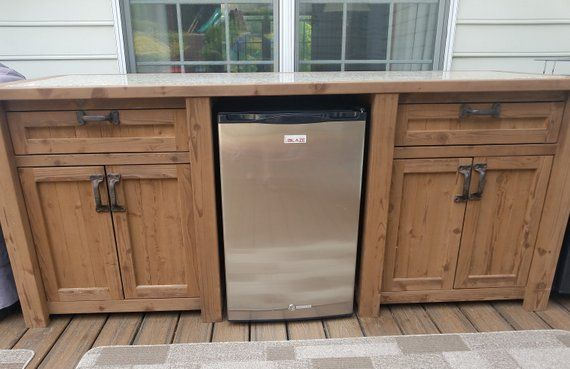 Mini Fridge Cooler Table Can Be Customized Etsy In 2020 Outdoor Mini Fridge Outdoor Patio Bar Outdoor Kitchen Cabinets
