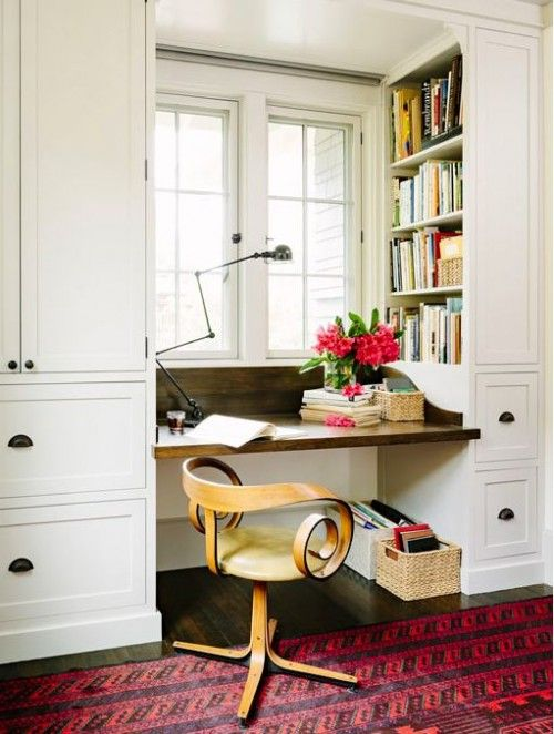 office nook/space near kitchen/dining areas (or between dining + music rooms) // design sponge