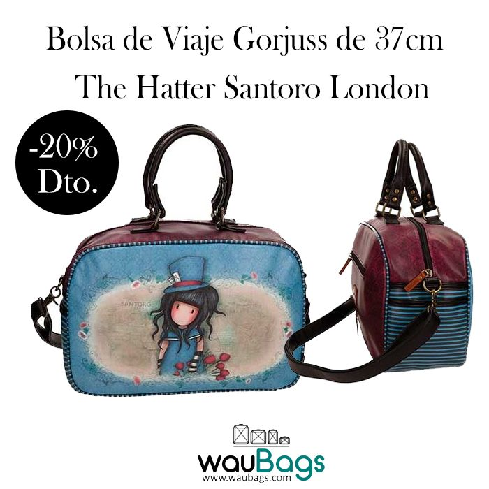 """Bolsa de Viaje Gorjuss """"The Hatter"""", perfecta para tus escapadas cortas o para llevar tus artículos de uso diario.  Con 2 asas cortas y correa desmontable y ajustable para llevar la bolsa sobre el hombro. Cierre con cremallera y en su interior un bolsillo para el teléfono móvil, un bolsillo con cremallera y otro bolsillo grande abierto.  @waubags.com #gorjuss #santorolondon #bolsa #viaje #maletas #vacaciones #escapadas #findesemana #waubags"""