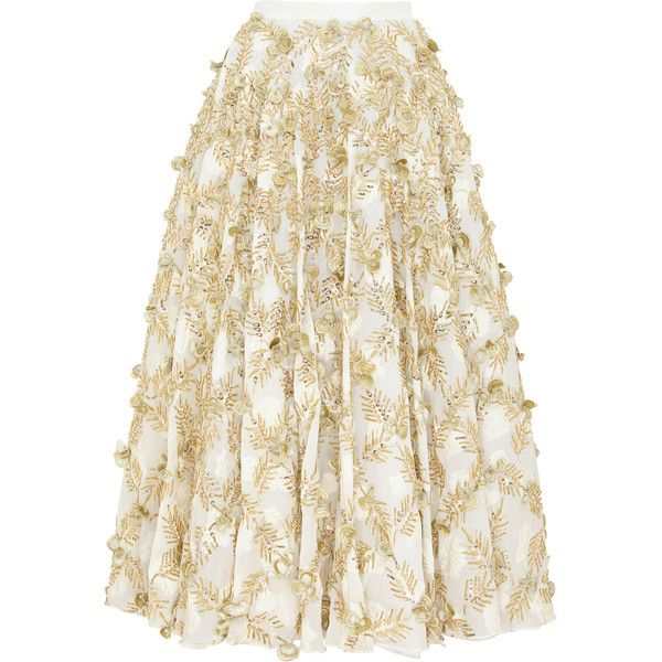 Razan Alazzouni Embellished Swing Skirt (160.840 RUB) ❤ liked on Polyvore featuring skirts, gold, gold pleated skirts, white high waisted skirt, white knee length skirt, high-waist skirt and high waisted swing skirt