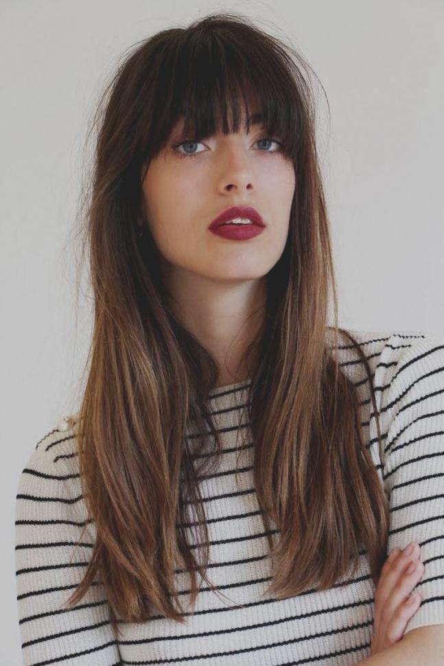 Elegantes Unikat Braune Haare Mit Pony Lange Stilvolle Frisuren … – Perfektes Haar |