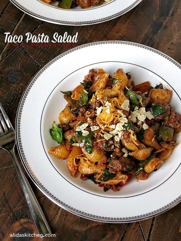 Taco Pasta Salad is a protein-packed salad filled with lean ground beef and lots of vegetables.