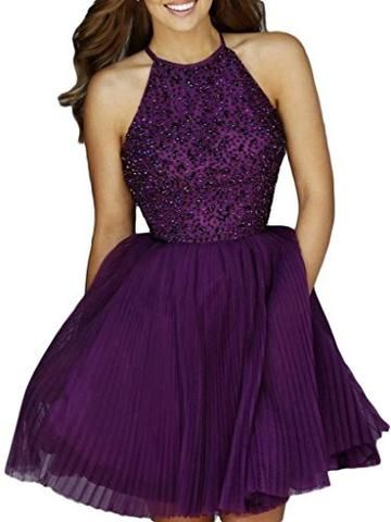 Keyhole Back Tulle Homecoming Dresses Prom Gowns