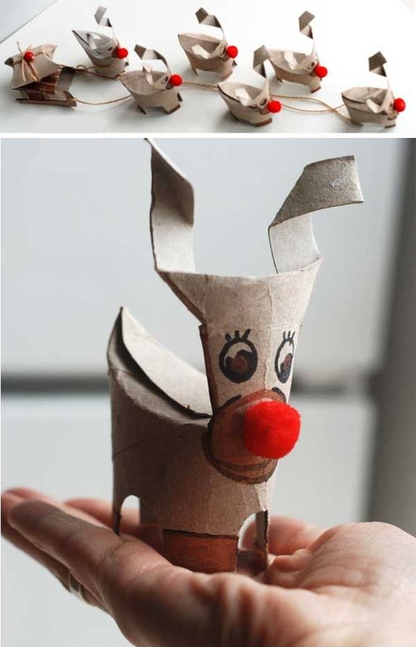 #DIY reindeers made from toilet paper rolls