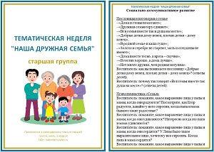 """Тематическая неделя """"Наша дружная семья"""""""