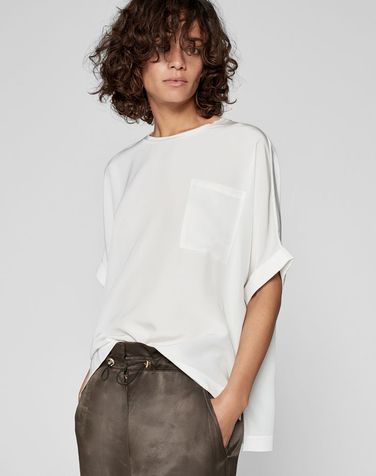 Women's luxury silk shirts and blouses from ME+EM | Raw Edge Silk Oversized Tee